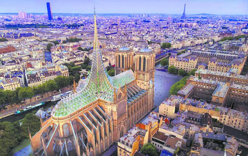 Архитектурное бюро Vincent Callebaut Architectures предложило проект постройки, при котором крыша будет вырабатывать тепло, электричество и энергию для пассивной вентиляции собора. На ней расположится сад, где будут выращивать овощи, которые планируется раздавать благотворительным организациям. Фото Vincent Callebaut Architectures