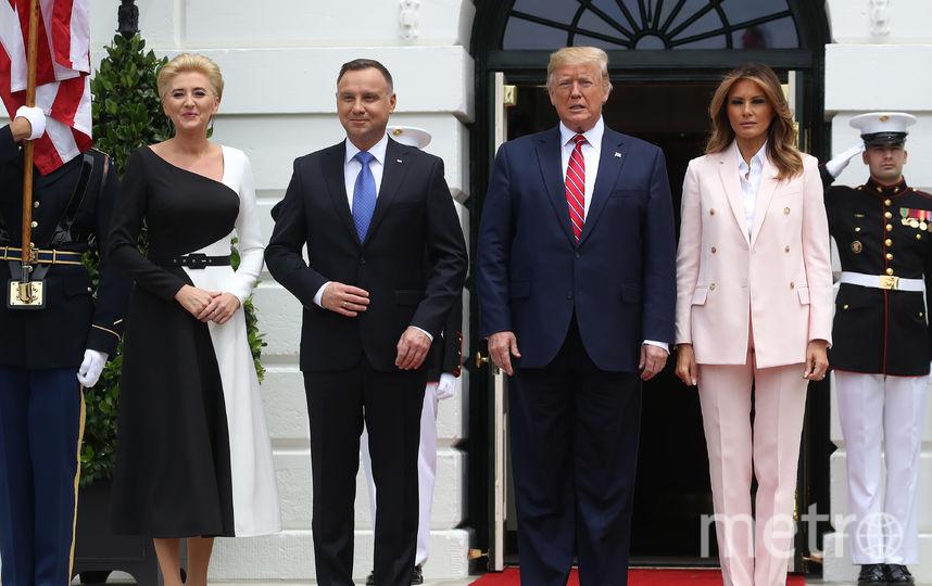 Анджей Дуда, Агата Корнхаузер-Дуда, Мелания и Дональд Трамп. Фото Getty