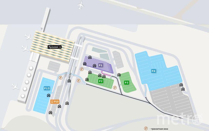 Карта парковочного комплекса аэропорта Пулково. Фото пресс-службы Пулково