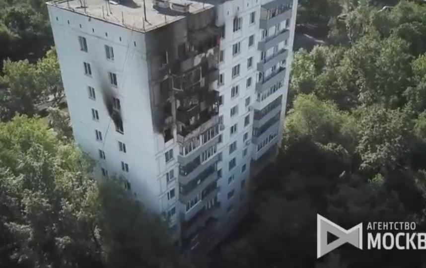 """Последствия пожара. Фото Скриншот видео агентства """"Москва"""""""
