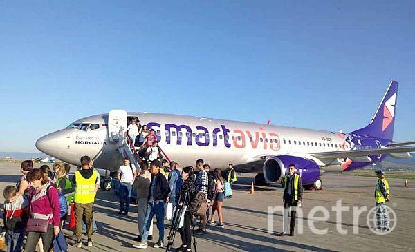 Для первого самолёта «Smartavia» устроили «водный салют». Фото личная страница Е. Сивцова в facebook, Предоставлено организаторами