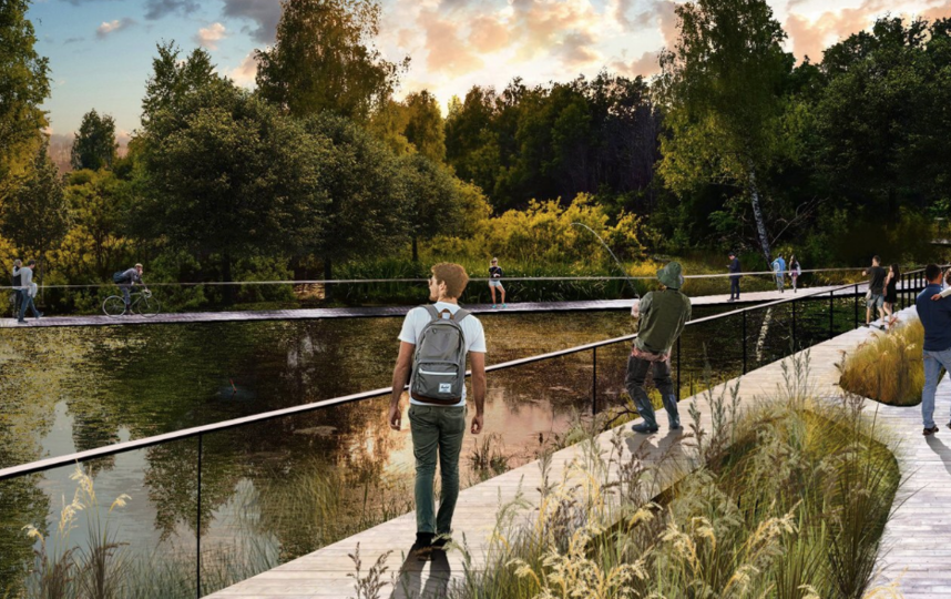 Таким будет парк на набережной Москвы-реки в Капотне после благоустройства. Фото Проектное решение, mos.ru