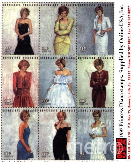 Принцесса Диана на почтовых марках. Фото Getty