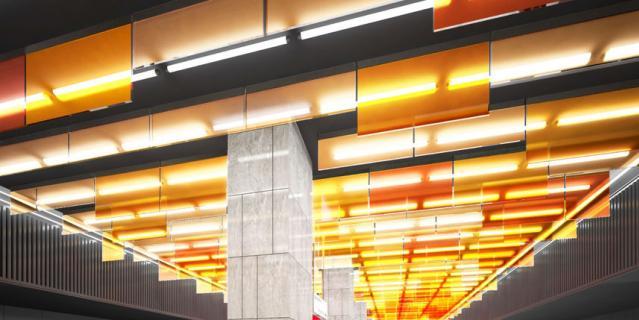 """Ключевым элементом станции """"Улица Новаторов"""" станет """"пламенеющий"""" потолок."""