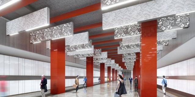 """Станцию """"Мичуринский проспект"""" оформят в китайской тематике. Световые инсталляции на потолке украсят иероглифы, символизирующие дружбу России и Китая."""