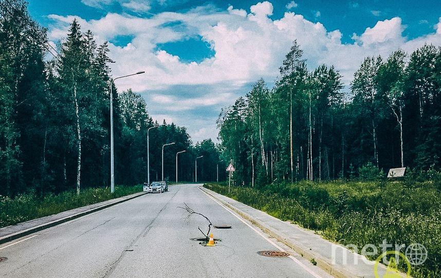 """В Куоротном районе иномарка перевернулась из-за открытого люка. Фото https://vk.com/dorinspb, """"Metro"""""""