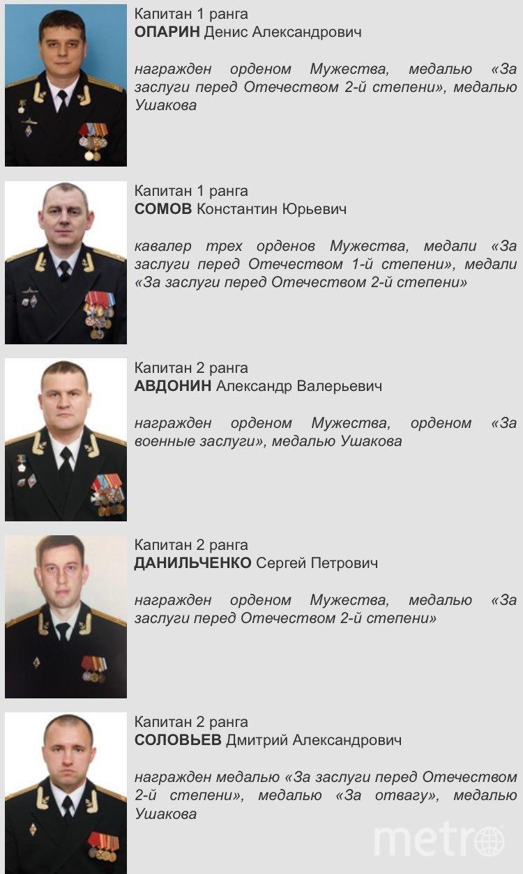 """Опубликован список погибших подводников: их могут похоронить в Петербурге. Фото Министерство обороны, """"Metro"""""""