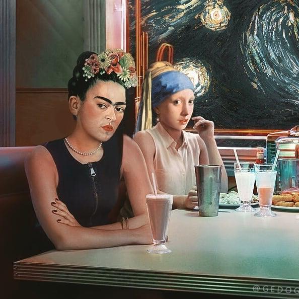 Ван Гог, Фрида Кало и девушка с жемчужной серёжкой за столом в американской закусочной. Фото Мохамед Гед, www.instagram.com/gedogfx
