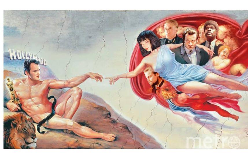 """""""Сотворение Адама"""" на новый лад: вместо Бога с ангелами – Ума Турман и все звёзды тарантиновских фильмов, в позе Адама – сам режиссёр. Фото Мохамед Гед, www.instagram.com/gedogfx"""