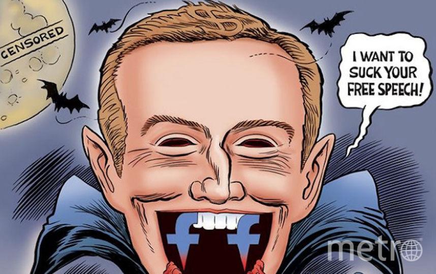 Основатель Facebook Марк Цукерберг в образе Дракулы, угрожающего свободе слова. Фото Скриншот instagram@ grrrgraphics