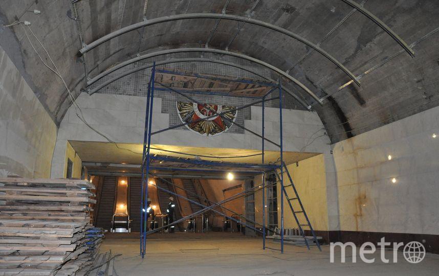 на ст. «Проспект Славы» подготовка к монтажу мозаичного панно. Фото Метрострой, vk.com