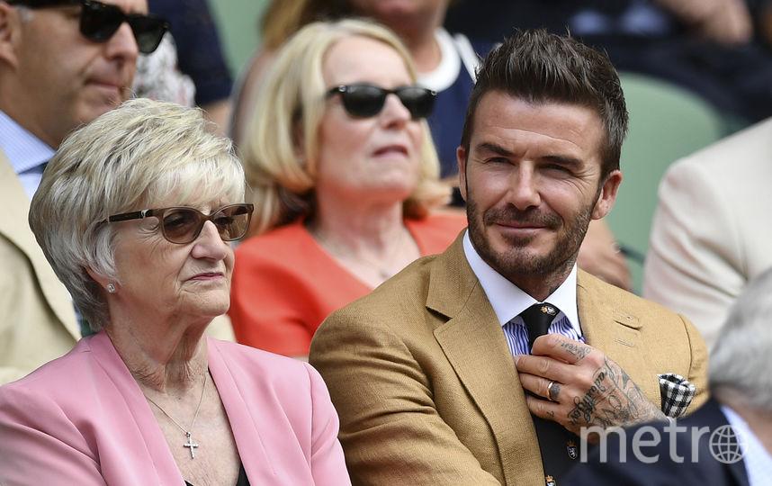 Дэвид Бекхэм с мамой. Фото AFP
