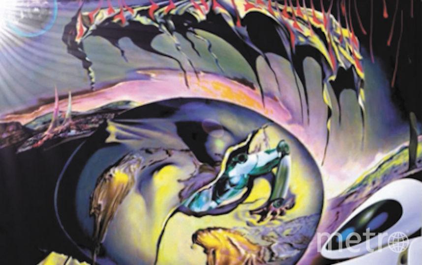 «Геополитический младенец» Сальвадора Дали и интерпретация в исполнении де Андреса – аргентинец перенёс действие в будущее, в результате чего цвета стали кислотными, а место человека на картине занял робот. Фото Jose Alfredo De Andres