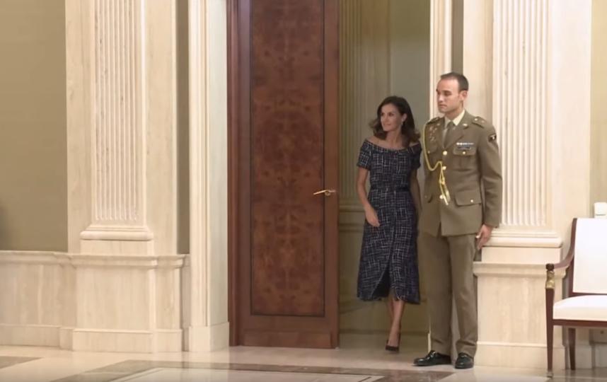 Для приёма во дворце королева Летиция выбрала демократичный наряд. Фото Скриншот https://www.youtube.com/watch?v=VaVMLV7VwAM, Скриншот Youtube
