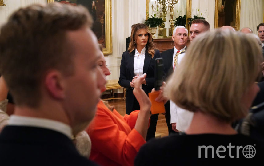 Мелания Трамп и Дональд Трамп на встрече со спортсменами в Белом доме 18 июля. Фото Getty