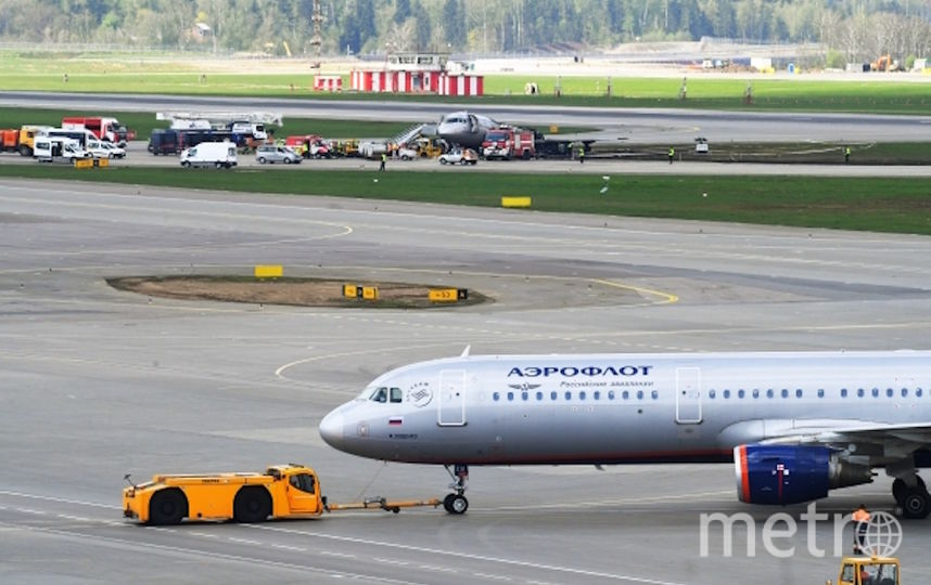 """В мае в Шереметьево загорелся Sukhoi Superjet 100 компании """"Аэрофлот"""" (архивное фото). Фото РИА Новости"""