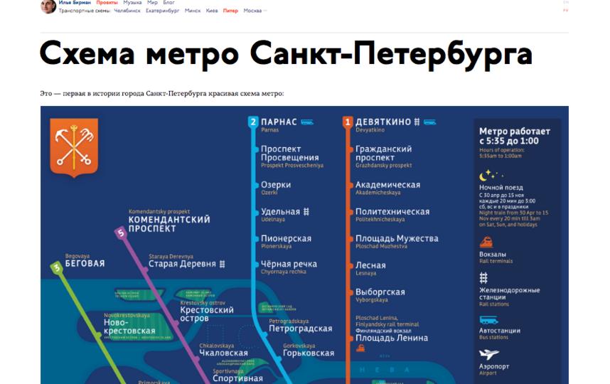 """Дизайнеры предложили """"первую в истории города Санкт-Петербурга красивая схема метро"""". Фото скриншот https://ilyabirman.ru/projects/spb-metro/"""