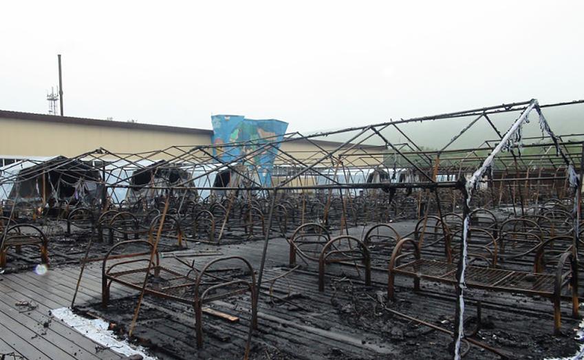 Палаточный лагерь под Хабаровском сгорел дотла. Фото AFP