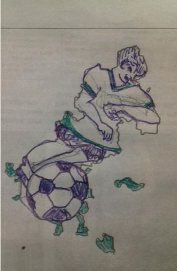 """""""Это мой футболист из нейтральной команды, чтобы никому обидно не было. С конечностями только не очень получилось - хотелось динамики побольше добавить, но художник из меня тот ещё!"""". Фото Вера"""