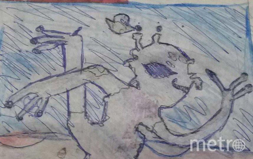 """""""Пришелец занимается йогой на необитаемой планете"""". Фото Анна, 11 лет."""