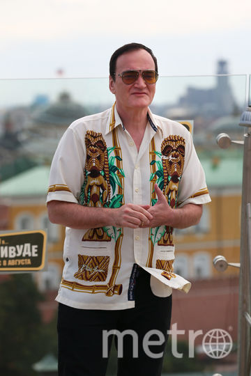 Режиссер Квентин Тарантино во время фотоколла на крыше отеля The Ritz Carlton Moscow в Москве. Фото Василий Кузьмичёнок