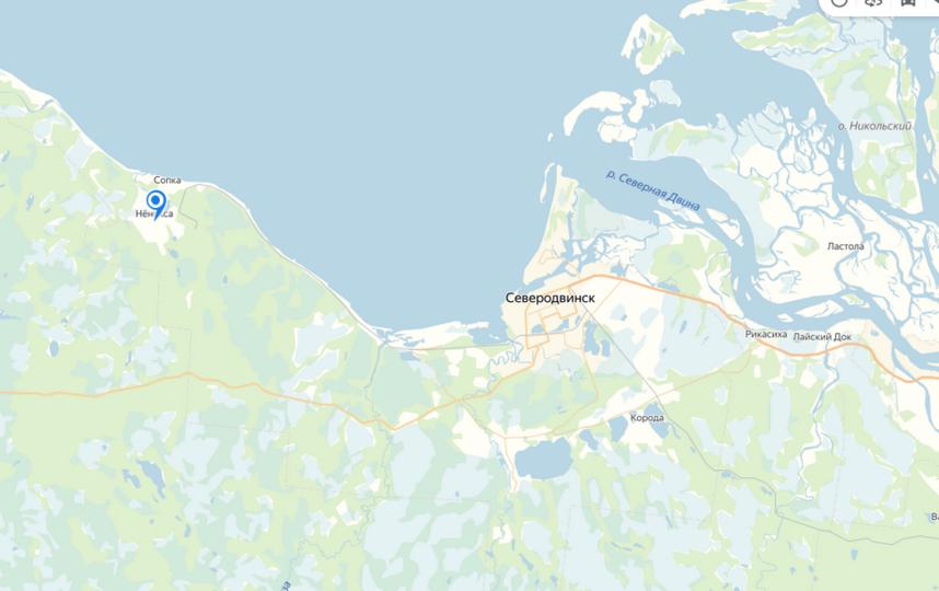 """Информацию о взрыве в военной части в Нёноксе проверяют. Фото яндекс.карты., """"Metro"""""""