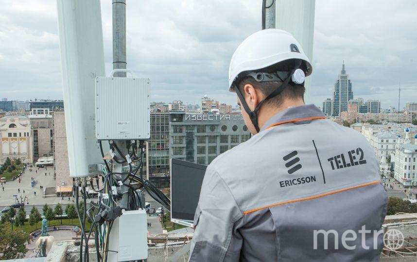Российский оператор мобильной связи Tele2 и шведская компания Ericsson открыли вместе пилотную зону 5G на Тверской улице в Москве. Фото предоставлено Tele2 Москва
