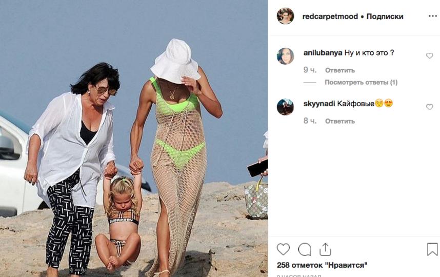 "Ирину Шейк на отдыхе с мамой и дочкой ""поймали"" папарацци. Фото скриншот https://www.instagram.com/redcarpetmood/, ""Metro"""