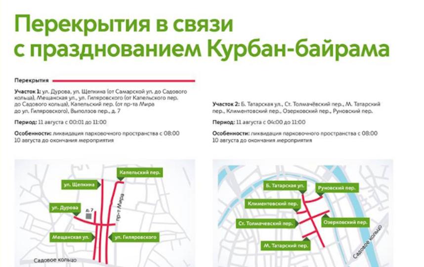 """Ряд улиц перекроют в Москве в связи с празднованием Курбан-байрама. Фото ЦОДД, """"Metro"""""""
