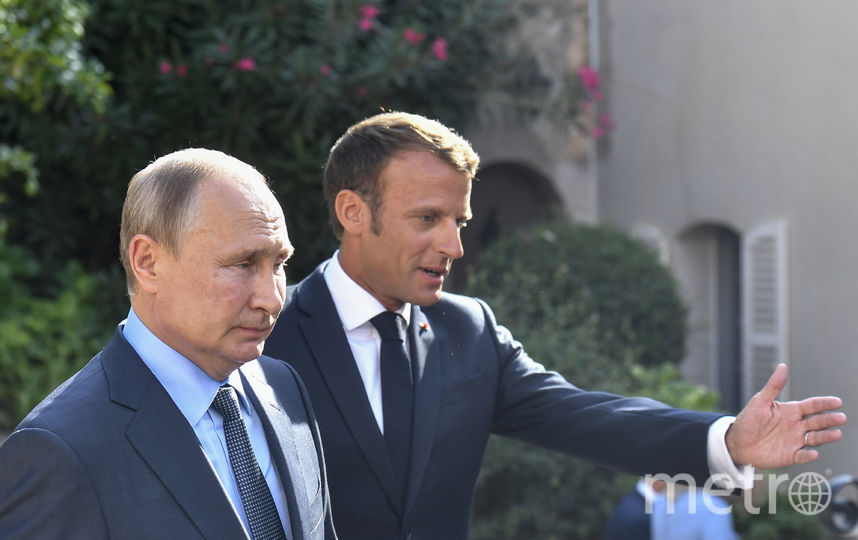 Владимир Путин и Эмманюэль Макрон. Путин находится с рабочим визитом во Франции. Фото AFP