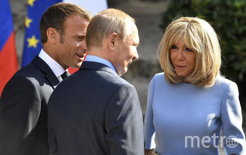 Владимир Путин, Эммануэль Макрон и Брижит Макрон. Фото AFP