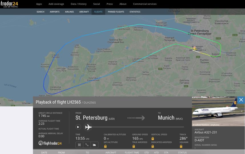 Скриншот flightradar24.com.