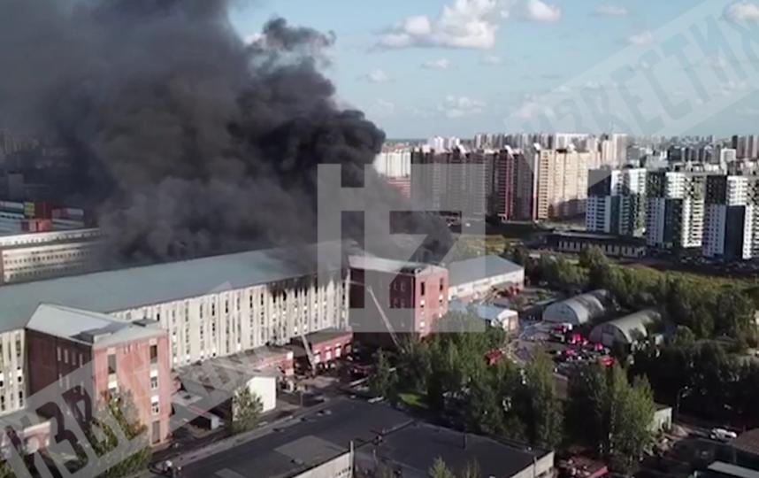 Пожар в Невском районе, снятый с разных ракурсов. Фото скриншот видео https://www.5-tv.ru/