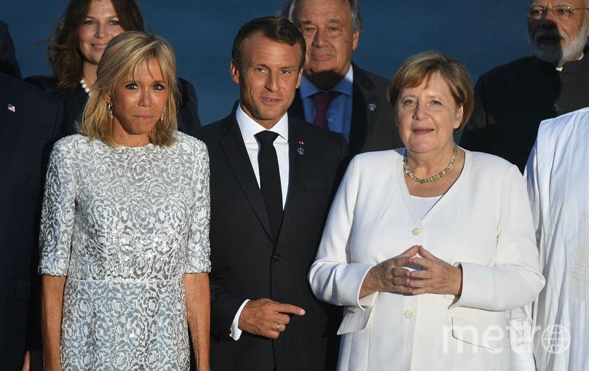 Брижит и Эммануэль Макрон и Ангела Меркель. Фото Getty