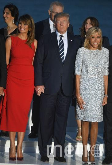 Мелания, Дональд Трамп и Брижит Макрон. Фото Getty