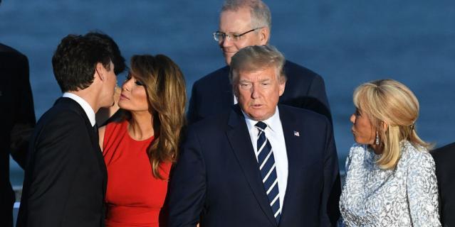 Джастин Трюдо с Меланией, Дональд Трамп и Брижит Макрон.