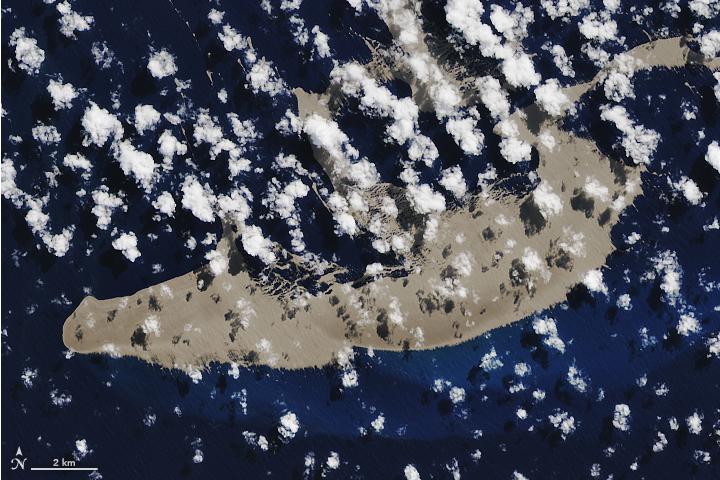 По приблизительным оценкам, до материка пемзовый плот доплывёт через 7-10 месяцев. Фото NASA Earth Observatory|Joshua Stevens