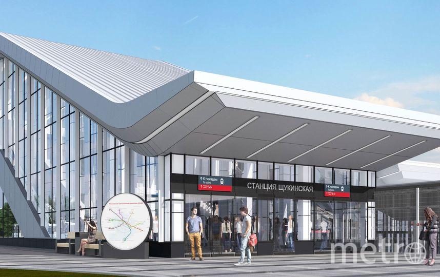 Так будет выглядеть вход на станцию МЦД-2 «Щукинская», которую построят возле одноимённой станции метро. Фото предоставлено пресс-службой Москомархитектуры
