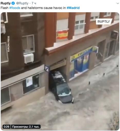"На Мадрид обрушились град и ливень. Фото https://twitter.com/search?q=madrid&src=typed_query, ""Metro"""