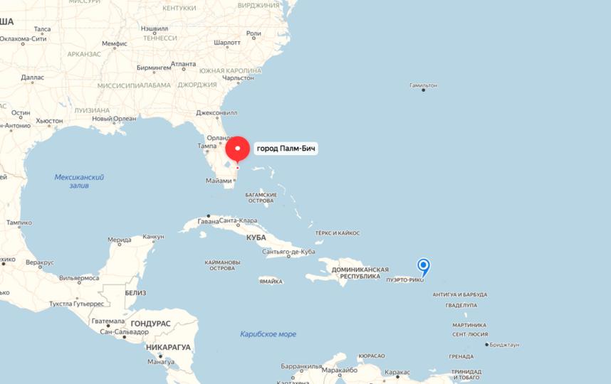 """Ураган идет из Атлантики на восточное побережье Флориды, где находится поместье Дональда Трампа. Фото яндекс.карты., """"Metro"""""""