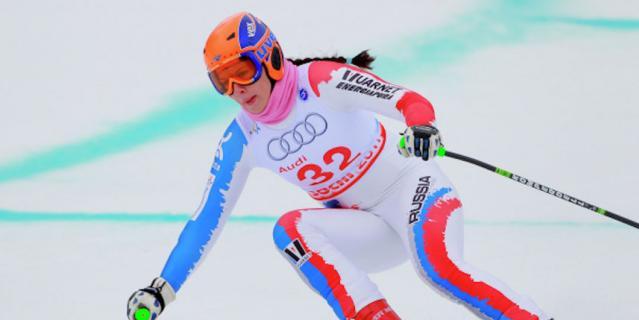 Мария Комиссарова на соревнованиях по скоростному спуску на этапе Кубка Европы по горнолыжному спорту среди женщин.