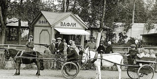 1930-е годы. Катание в зоосаде на осликах и пони.
