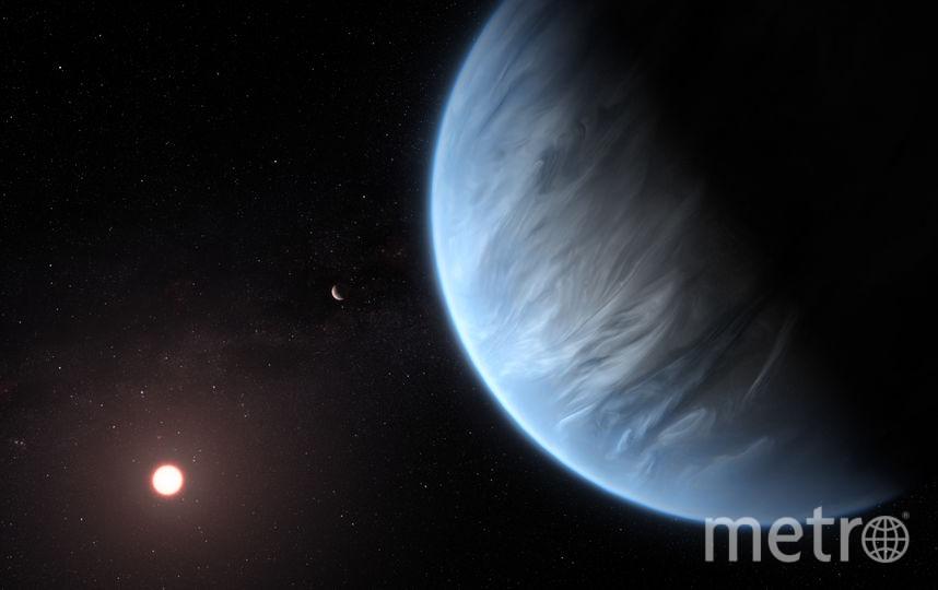 Планета K2-18b расположена на расстоянии 110 световых лет от Земли. Рисунок художника. Фото AFP