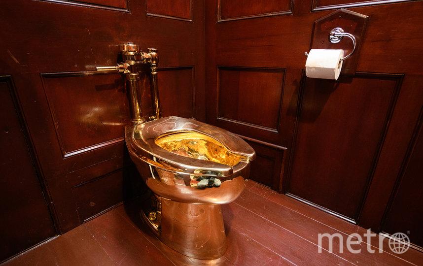 Унитаз полностью сделан из 18-каратного золота. Фото Getty