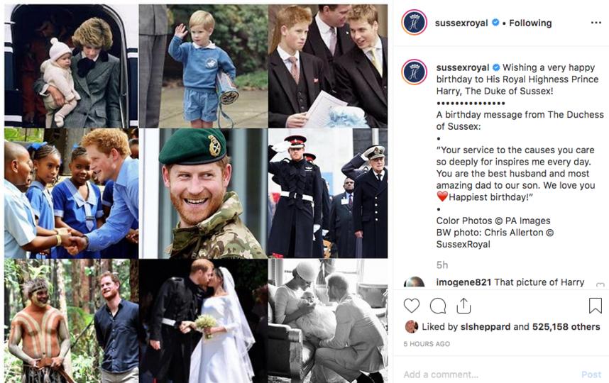 Меган Маркл поздравила принца Гарри, опубликовав коллаж из архивных фотографий. Фото Скриншот https://www.instagram.com/sussexroyal/
