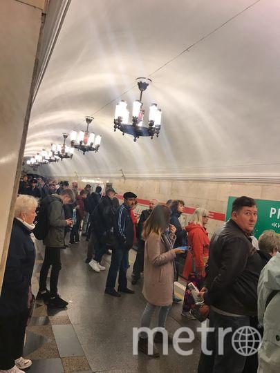 """Нарвская утром 20 сентября. Фото https://vk.com/spb_today, """"Metro"""""""