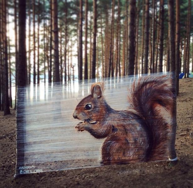 """Белка – первая картина Евгения, нарисованная на плёнке (2014 год). Фото предоставлено Евгением Чесом; instagram @ches_ches, """"Metro"""""""