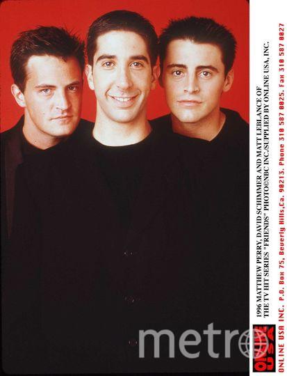 Мэттью Перри, Дэвид Швиммер и  Мэтт Леблан, 1996 год. Фото Getty
