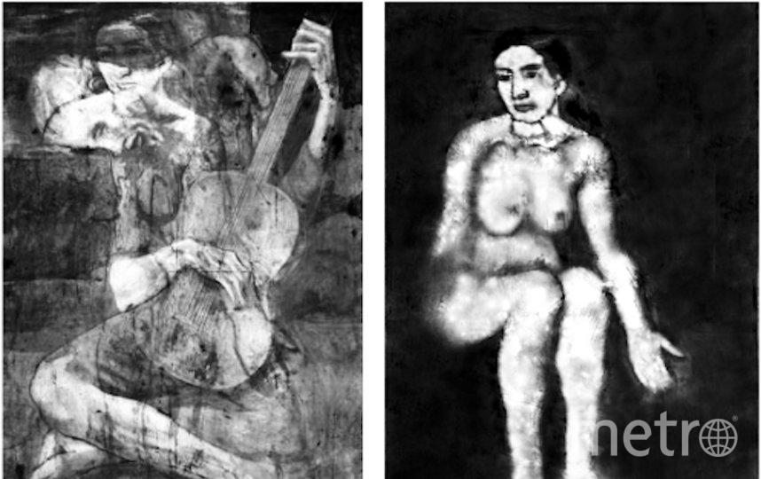"""Под слоем краски картины Пикассо """"Старый гитарист"""" (слева) учёные обнаружили изображение женщины. Фото https://arxiv.org/pdf/1909.05677v1.pdf"""