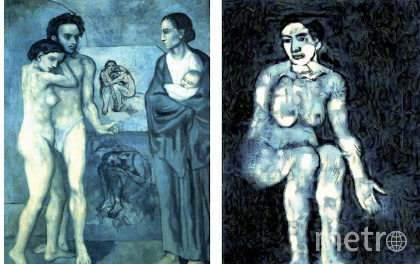 """Во время """"раскрашивания"""" учёные опирались на картину Пикассо """"Жизнь"""" (слева). Фото https://arxiv.org/pdf/1909.05677v1.pdf"""